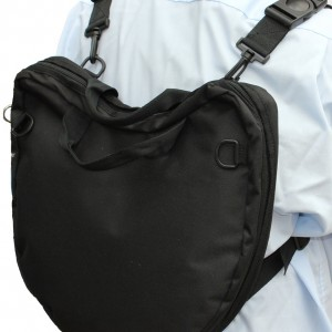 Wearing the Trabasack Curve lap tray bag as a rucksack