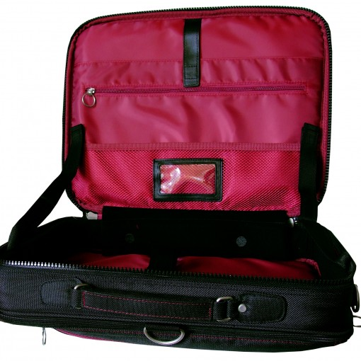 Image shows the Trabasack Max opened-up with red satin lining