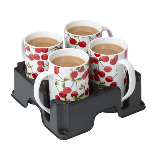 Plastic Muggi multi-cup tray holding four cups decorated with cherries