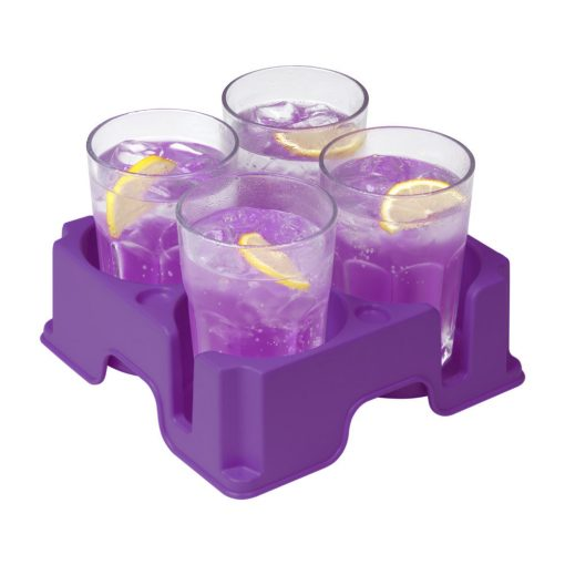 Plastic Muggi multi-cup tray in purple, holding 4 glasses of purple juice with slices of lemon