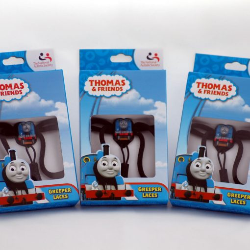Photograph shows three packets of Thomas the Tank Engine themed Greeper shoe laces
