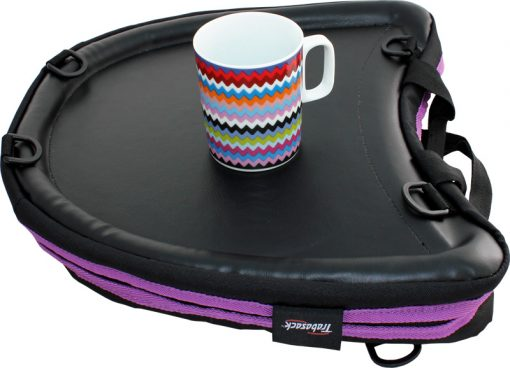 Image is a photograph of the Trabasack Curve with purple trim with a zig-zag patterned china mug on the tray surface