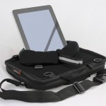 Media Mount holds an iPad upright on top of a Trabasack Mini Connect