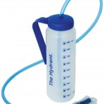 Image shows blue Hydrant drinking bottle with drinks tube and hanging bracket