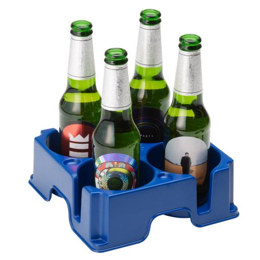 Plastic Muggi multi-cup tray in blue, holding four bottles of beer