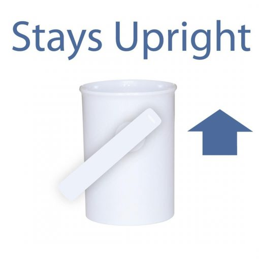 "Image shows white, upright handSteady mug on blue background with text reading ""Stays Upright"""