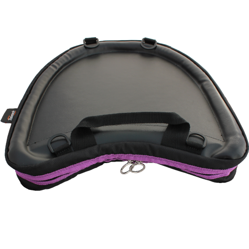 Photograph of Trabasack Curve with purple trim viewed from the top-down, showing the firm tray surface