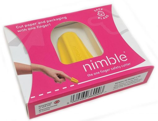 Image shows yellow Nimble cutting tool in bright pink packaging