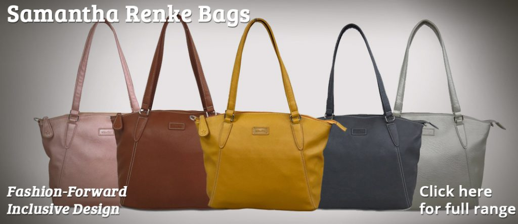 "Image shows 5 Sam Renke handbags lined-up next to each other, in Rose Gold, Chesnut, Mustard, Navy and Silver. Text reads ""Sam Renke Bags. Fashion-forward, inclusive desing. Click here for full range"""