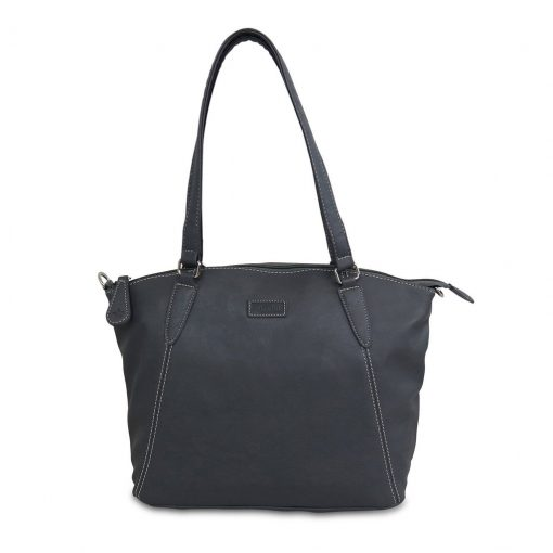 Image shows a black ladies handbag on a white background