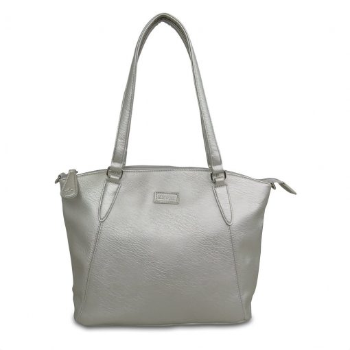 Image shows a photograph of a ladies handbag in a Matt Silver colour on a white background
