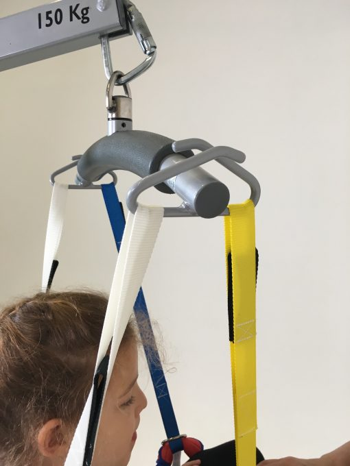 Image shows a photograph of the ProMove sling straps attached to the spreader bar of a hoist.