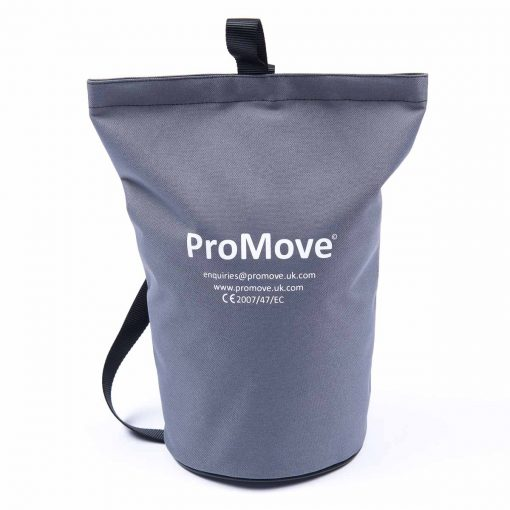 """Image shows the ProMove Carry Bag in grey, stood upright on a white background. White printed text on the bag reads: """"ProMove. Enquiries@promove.uk.com. www.promove.uk.com. CE 2007/47/EC"""""""