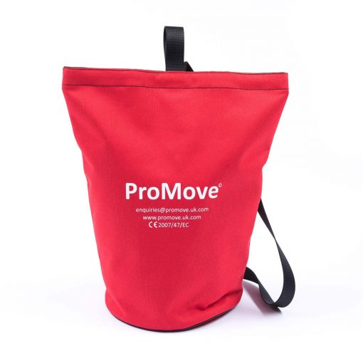 """Image shows the ProMove Carry Bag in red, stood upright on a white background. White printed text on the bag reads: """"ProMove. Enquiries@promove.uk.com. www.promove.uk.com. CE 2007/47/EC"""""""