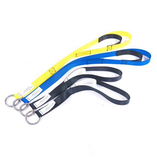 Image shows 4 hoist straps, in yellow, blue and black, lay on a white surface