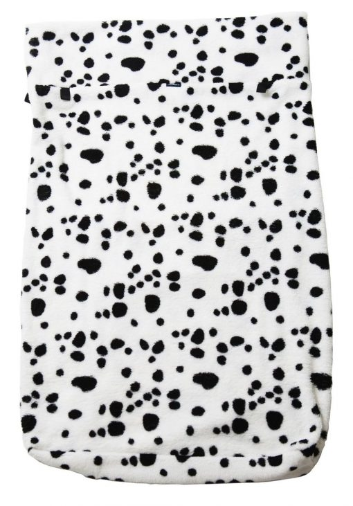 Image shows a photograph of a Spotty Dog Dalmatian-print fleece wheelchair leg cover lay flat on a white backgroung