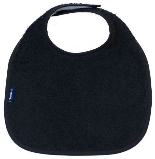 Image shows a photograph of a black, cotton towelling dribble bib lay flat on a white background