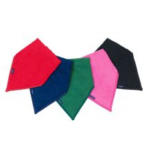 Image shows a photograph of 5 cotton towelling kerchiefs in the colours black, cerise, green, red and navy blue, lay flat in a fan-shape on a white background