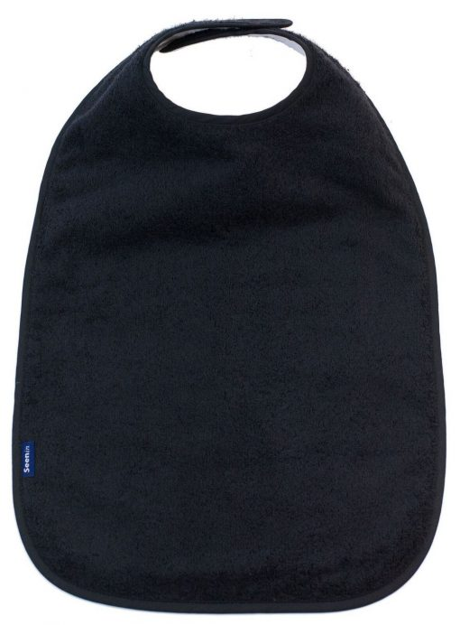 Image shows a photograph of the Seenin Children's Cotton Towelling Bib in black with a white background