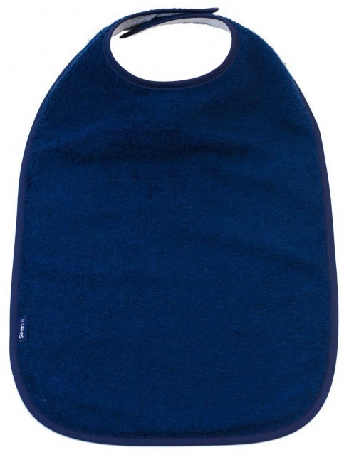Image shows a photograph of the Seenin Children's Cotton Towelling Bib in Navy with a white background