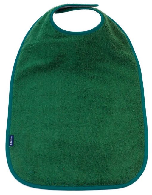 Image shows a photograph of the Seenin Children's Cotton Towelling Bib in Racing Green with a white background