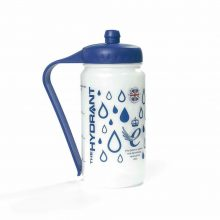Image is a photograph of the Hydrant sports water bottle featuring a design of blue water drops on a white background