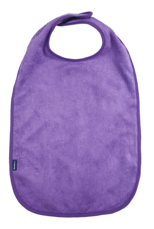 Image shows a photograph of a soft, light purple bamboo towelling apron on a white background