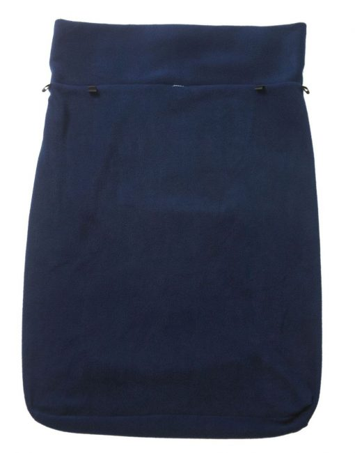 Image shows a photograph of a navy blue fleece leg cover on a white background