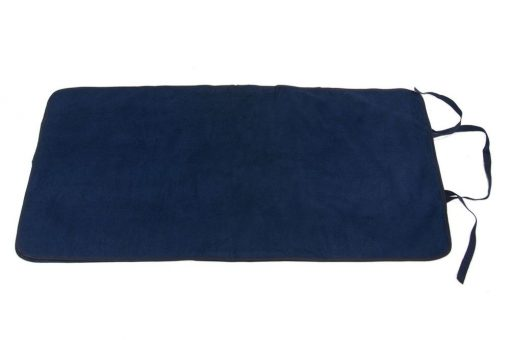 Image shows a photograph of a navy blue Seenin changing mat lay flat on a white background