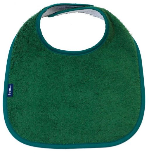 Image shows a photograph of a Racing green, cotton towelling dribble bib lay flat on a white background