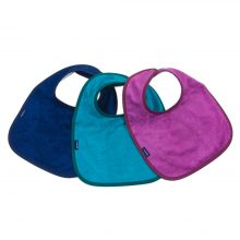 Image shows a photograph of 3 bamboo towelling dribble bibs in the colours navy blue, turquoise and pink, lay flat in a fan-shape on a white background