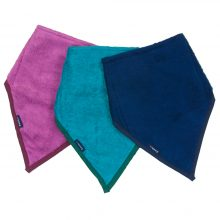 Image shows a photograph of 3 bamboo towelling kerchiefs in the colours pink, turquoise and navy blue, lay flat in a fan-shape on a white background
