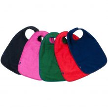 Image shows a photograph of 5 cotton aprons in the colours black, cerise, green, red and navy blue, lay flat in a fan-shape on a white background