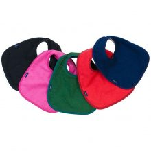 Image shows a photograph of 5 cotton dribble bibs in the colours black, cerise, green, red and navy blue, lay flat in a fan-shape on a white background