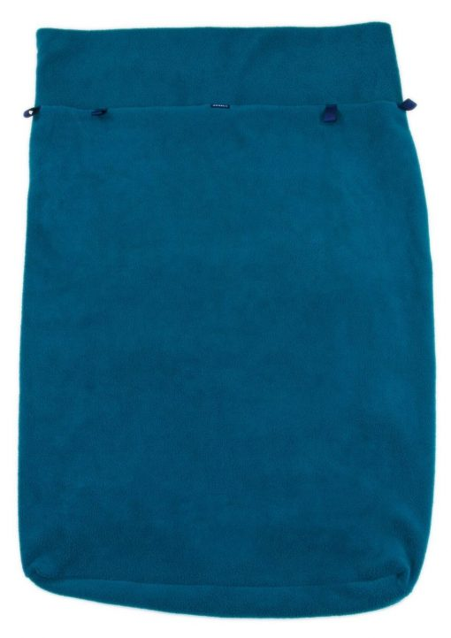 Image shows a photograph of a fleece leg cover in a teal colour lay flat on a white background