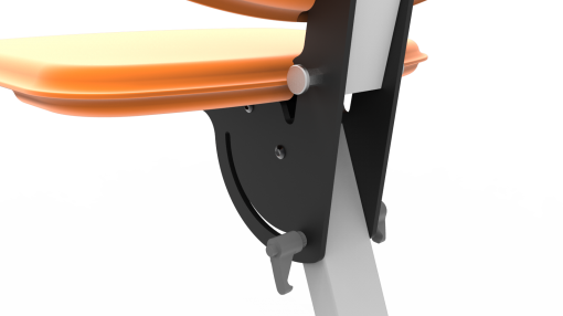 Image is a photograph of a close-up of the folding mechanism on the Skoe Hitch