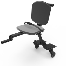 Image is a photograph of the Skoe Hitch in all black. Chassis of the Skoe Hitch is black aluminium and the seat, backrest and wheels are also black.