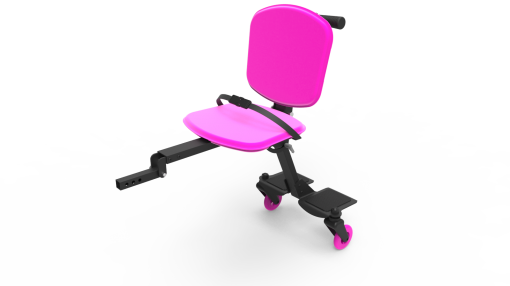 Image is a photograph of the Skoe Hitch in bright pink. Chassis of the Skoe Hitch is black aluminium and the seat, backrest and wheels are pink.