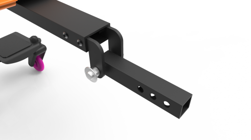 Image is a photograph showing the interface bar that attaches to the back of a mobility scooter on a Skoe Hitch