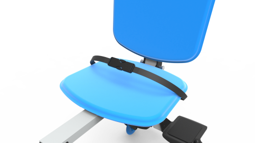 Image is a photograph showing the detailed view of the lap seatbelt on a blue Skoe Hitch chair