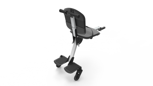 Image is a photograph showing the back of a Skoe Hitch in black, illustrating the footplate for larger children, and the chair for smaller children.