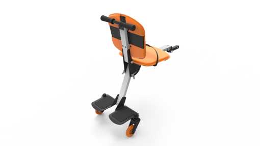 Image is a photograph showing the back of a Skoe Hitch in orange, illustrating the footplate for larger children, and the chair for smaller children.