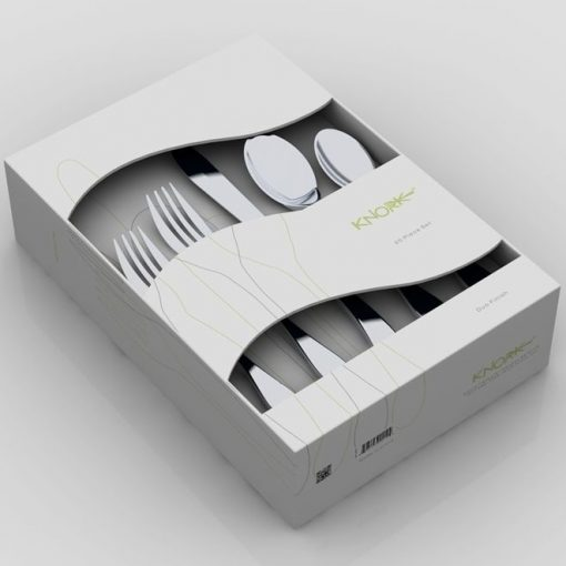 Image is a photograph of the 20 piece Knork cutlery set in packaging box