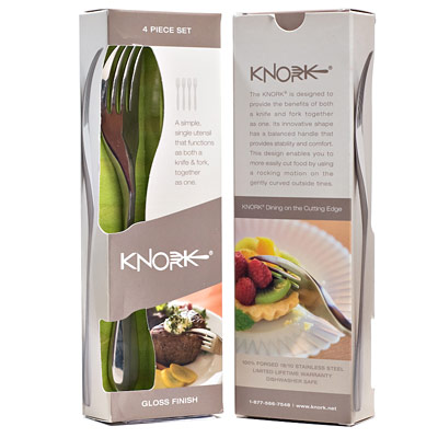 Image is a photograph of the packaging of the 4 pack of Knorks