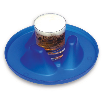 Image is a photograph of a blue, circular Buckingham Mug Holder tray with a glass of beer in the centre, on a white background