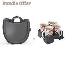 "Image is a composite of two photographs, the Trabasack Curve and Muggi cup tray in black, carrying four cherry-print china mugs. Text reads ""Bundle offer - Trabasack Curve and Muggi"""