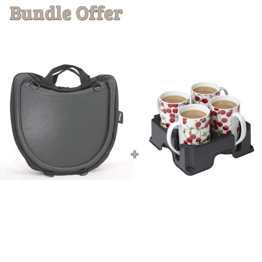 """Image is a composite of two photographs, the Trabasack Curve and Muggi cup tray in black, carrying four cherry-print china mugs. Text reads """"Bundle offer - Trabasack Curve and Muggi"""""""