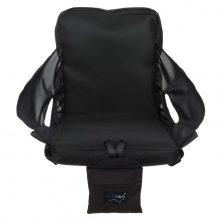 Image is a photograph of the easyTravelseat chair in black, facing forwards, on a white background