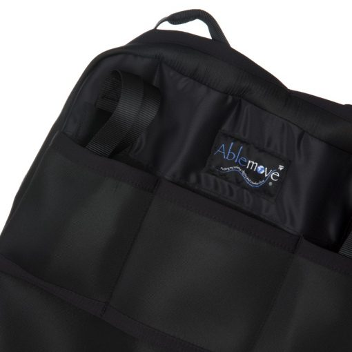 Image is a photograph of a close-up of the backrest of the easyTravelseat