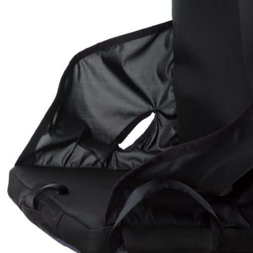 Image is a photograph of the side of the easyTravelseat illustrating the cut-out side panels suitable for fitting seat belts